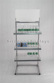 Freestanding Powdered Silver Water Bottle Display Stand In 3 Tier For Purified Water