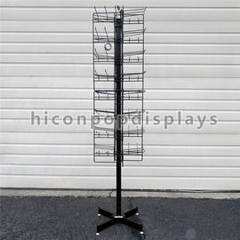 8 Tiered 96 Prongs 65 Long Rotating Display Rack Black Color With Hanging Hook