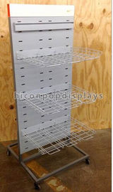 China Sports Products Freestanding Metal Gondola Shelving Units Double Sided With 4 Casters factory