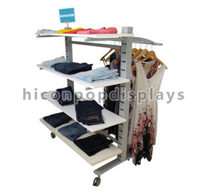 China 4 Caster Clothing Store Fixtures Double Sided Wood Shelves Slatwall Clothing Rack factory