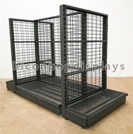 China Supermarket / Retail Gondola Shelving Black Heavy Duty Double Sided Display Stand factory
