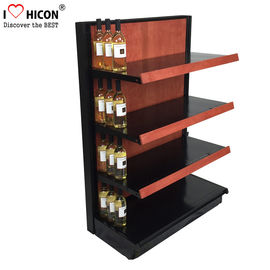 Liquor Store Gondola Shelving Units 36 Inch Wide End Cap Wooden Shelving Display Stand