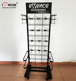 Umbrella Flooring Display Stands 1600mm × 400mm Made In Black Metal With Casters