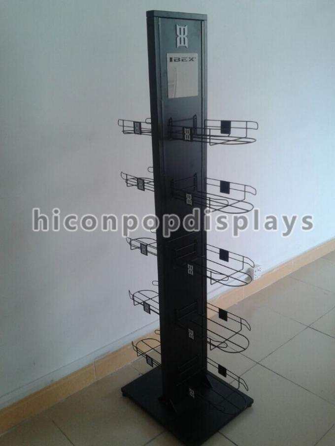 Caps High End Metal Store Fixtures 5 Shelves Double Sided Display Stand