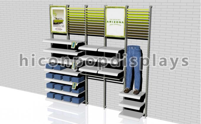 Wall Mount Clothing Store Fixtures Display , Retail Wall Display