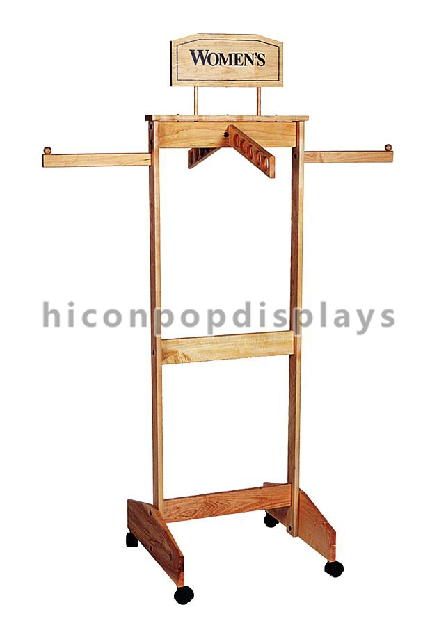 Visual merchandising wooden display racks clothes