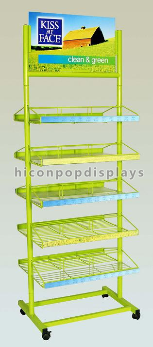 Free Standing Metal Earring Display Stands With Wire Basket Holder
