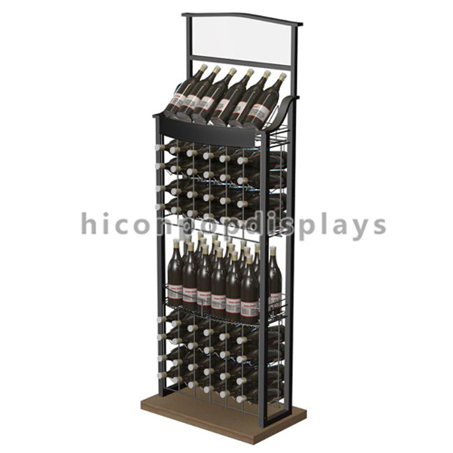 Merchandising Movable Wood Wine Display Stand Free Standing For Retail Store
