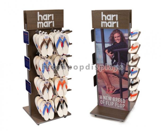 Retail Shop Flooring Display Stands Promotional Movable Metal Shoe Display Stand