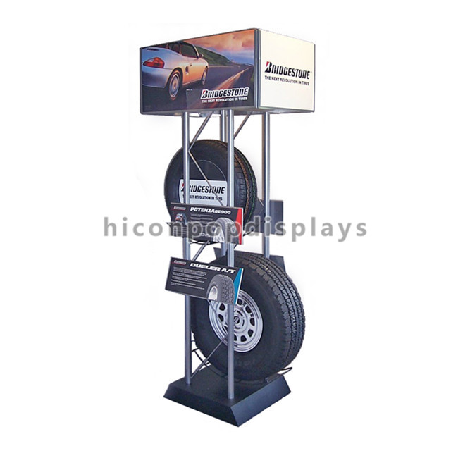 Automotive Products Floor Standing Display Retail Store Tyre Display Stand