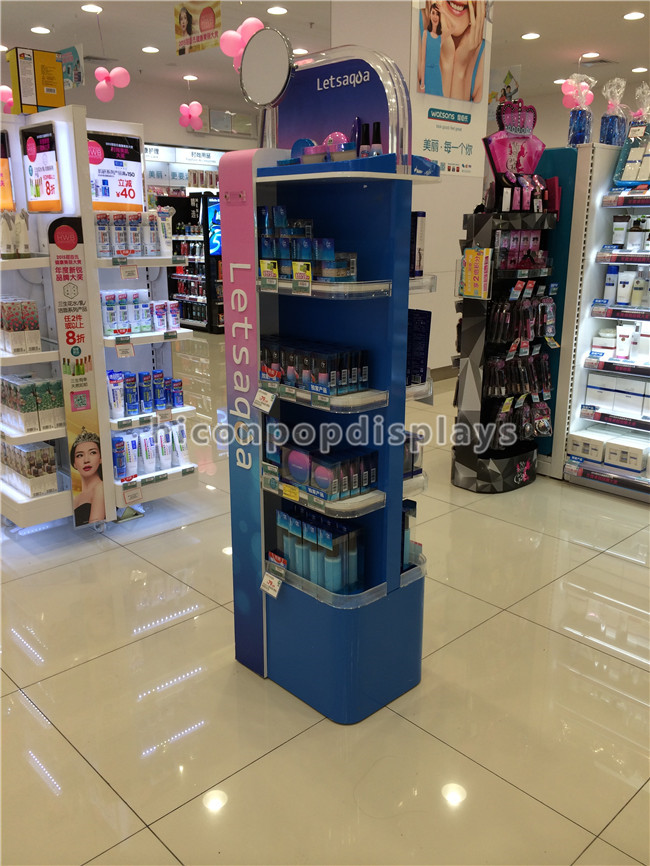 Exhibition Stand Cosmetics : Cosmetics display stand instore promotional lighting
