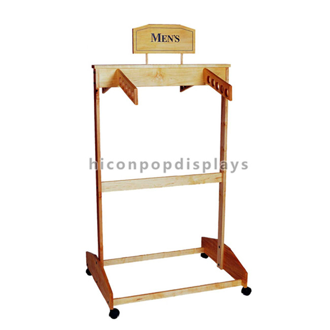 Hanging Clothing Store Fixtures Simple Freestanding Wooden Clothes Rack For Promotion
