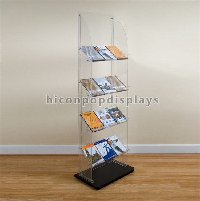 Book Retail Store Fixtures Clear Acrylic Floor Display Stand With Lcd Screen