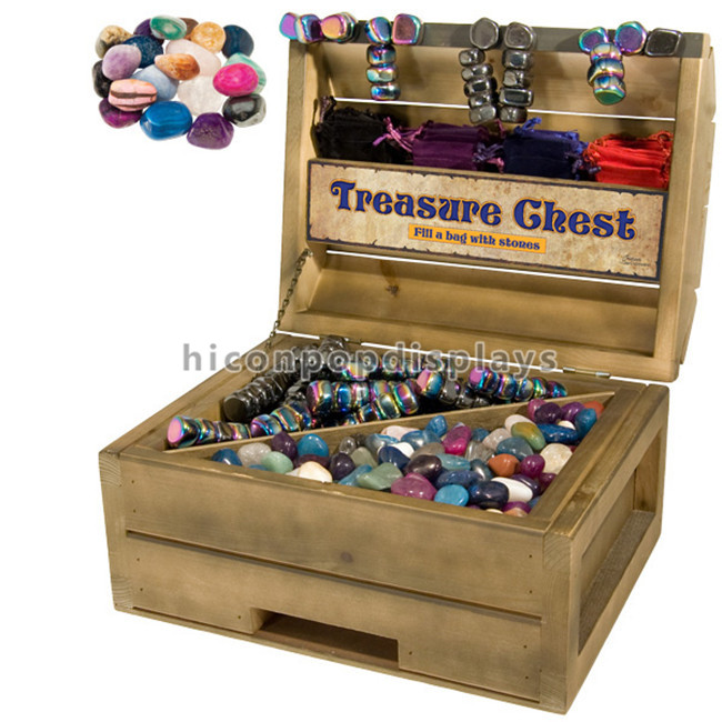 Tumbled Stone Chest Retail Exhibition Showcase Box Solid Wood Display Case