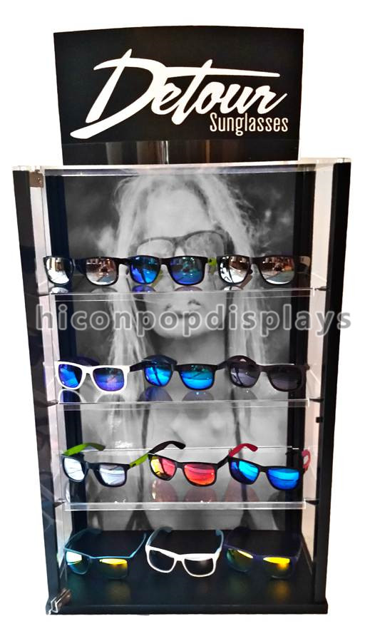 Freestanding Acrylic 5 Layer Sunglasses Display Case Rotating For Protective Lenses