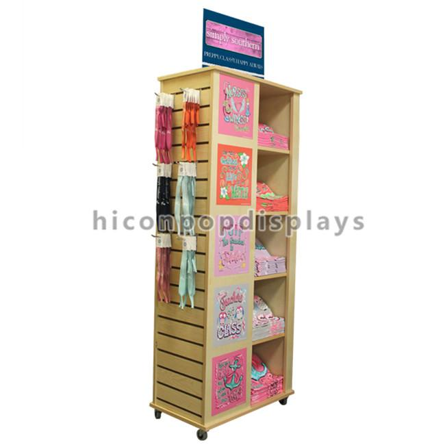 Wooden Floor Rotating Clothing Shop Display Cabinets For Garment Retail Stores