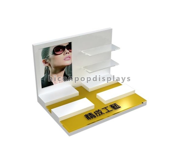 Counter Top POP Merchandise Displays 3 Layer Golden Spectacles Optical Display Stand