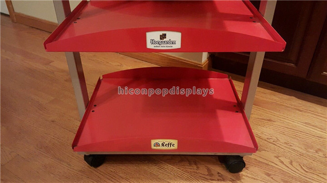4 Wheels Wine Display Stand Red Heavy Metal Beer Display Shelf 4 Layer For Stores