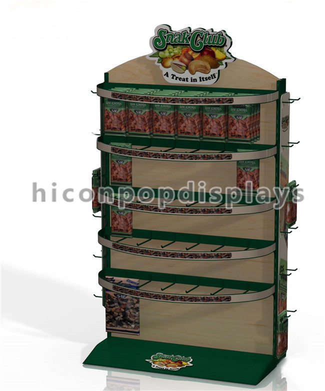 Yellow Wire Flooring Display Stands , Custom Cheese Store Food Display Rack
