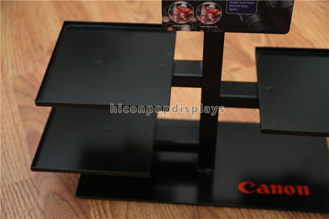 Black Metal Counter Top Display Rack Custom Brand Binocular Camera Display Stand