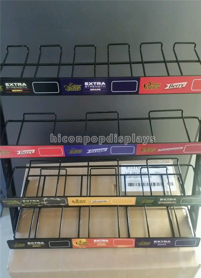 Advertising Countertop Metal Display Racks 4 - Tier Energy Drink Display Rack