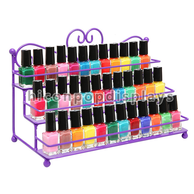 Sturdy Wire Frame Cosmetic Display Stand Custom 144 Bottles Nail Polish Display Stand