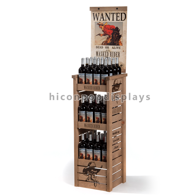 3 Shelves Mobile Soft Drink / Wine Display Stand Black Color With 4 Casters