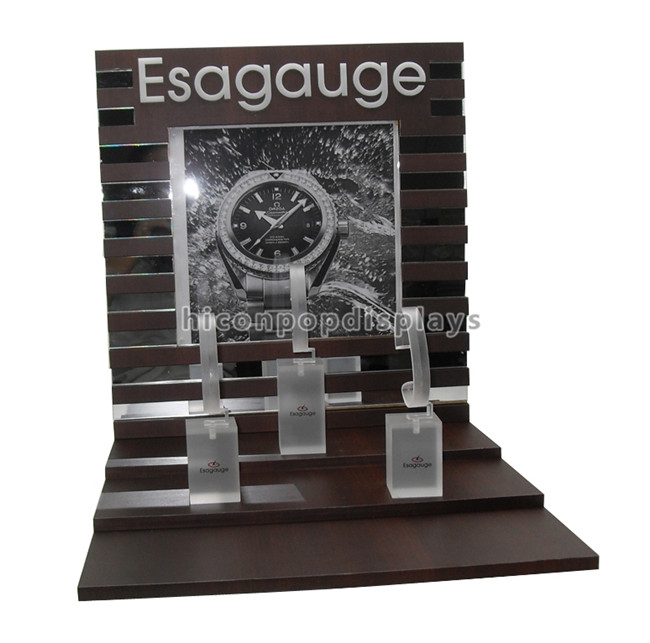 Table Top Custom Size Wooden Display Racks With 3 Pieces Acrylic Holder