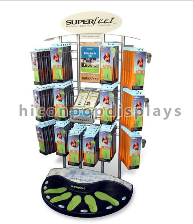 2-Layer White Pop Merchandise Displays Unit Custom Happy Socks Display 16 Hooks
