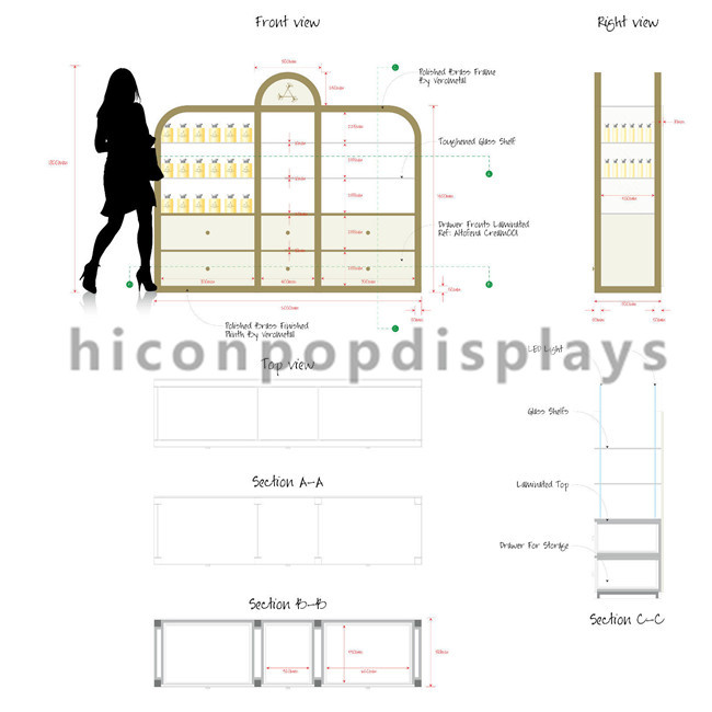 Shopping Mall / Store Makeup Display Stands Large Cosmetic Display Shelving Unit