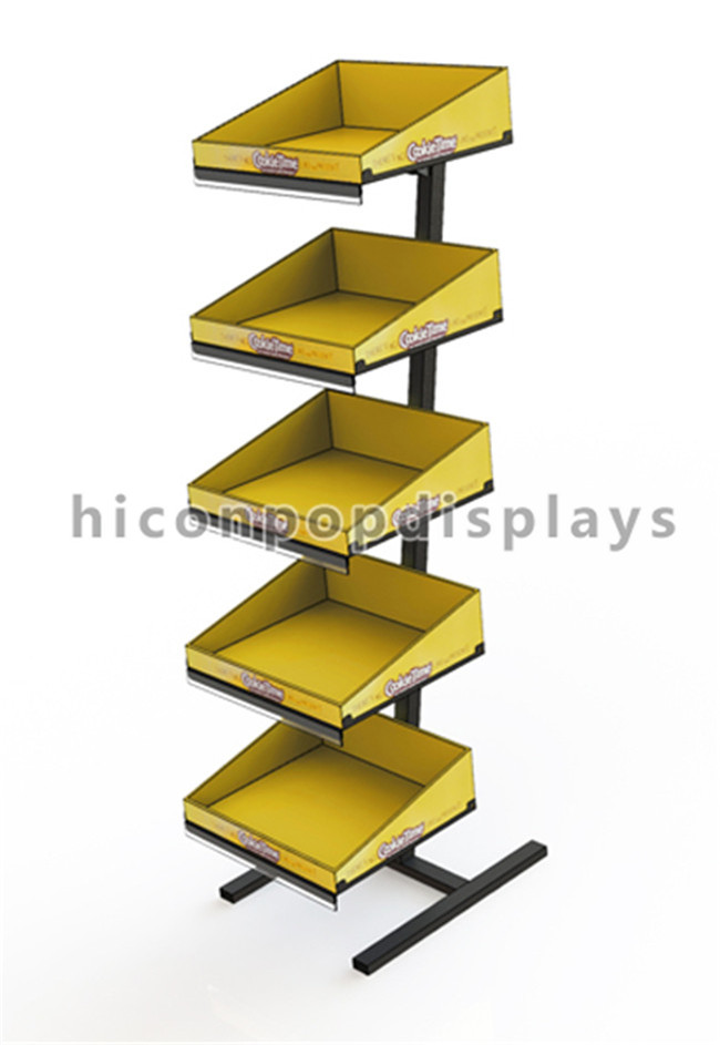 Free Standing Wooden Display Racks , Food Store Bakery Display Unit For Advertising