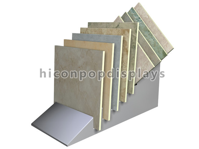 Metal Free Standing Floor Granite / Marble Tiles Display For Stone Retail Showroom
