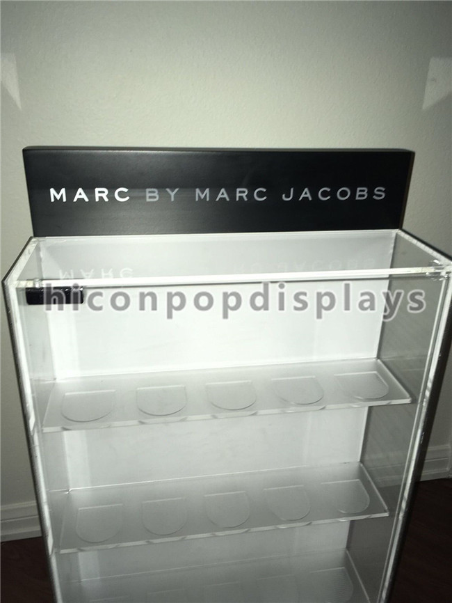 Counter Top Acrylic Display Case Metal Base Watch Display Units Double Sided