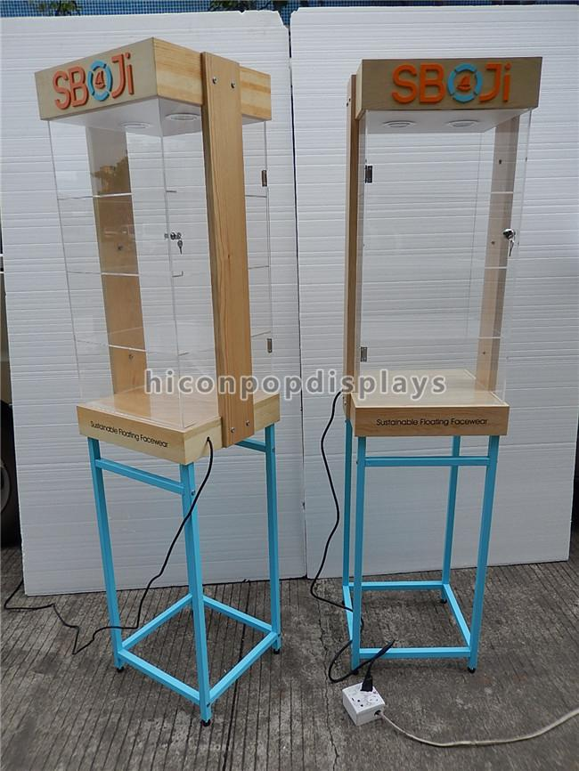 Shops Lighting Acrylic Wooden Sunglasses Display Stand With Blue Metal Rack