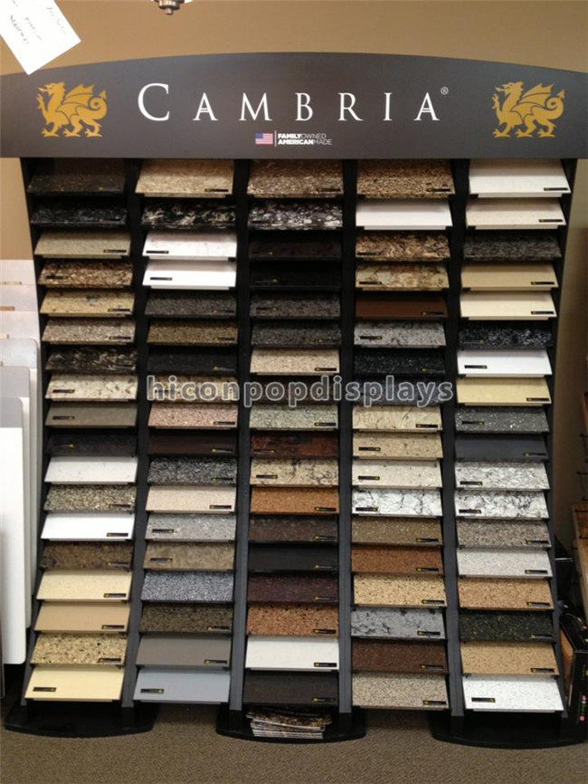 Black Wood Metal Cambira Stone Showroom Display Stand Freestanding For Tiles