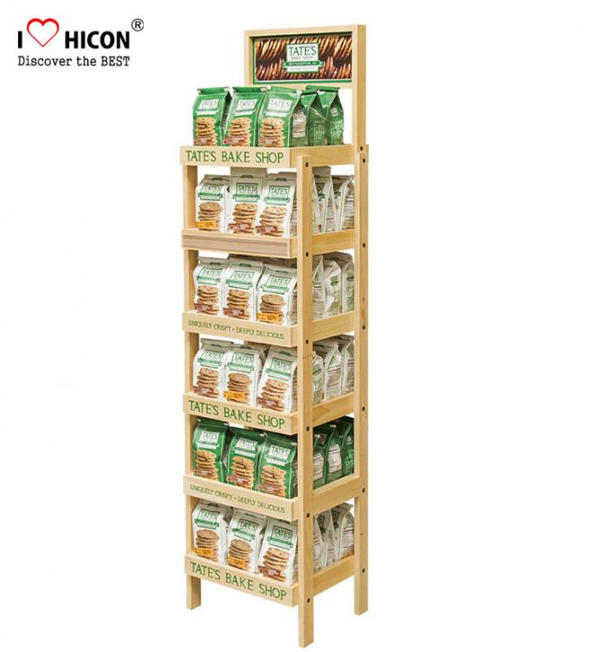 Food Shop 4 Layer Wood Flooring Display Rack Coffee Bag