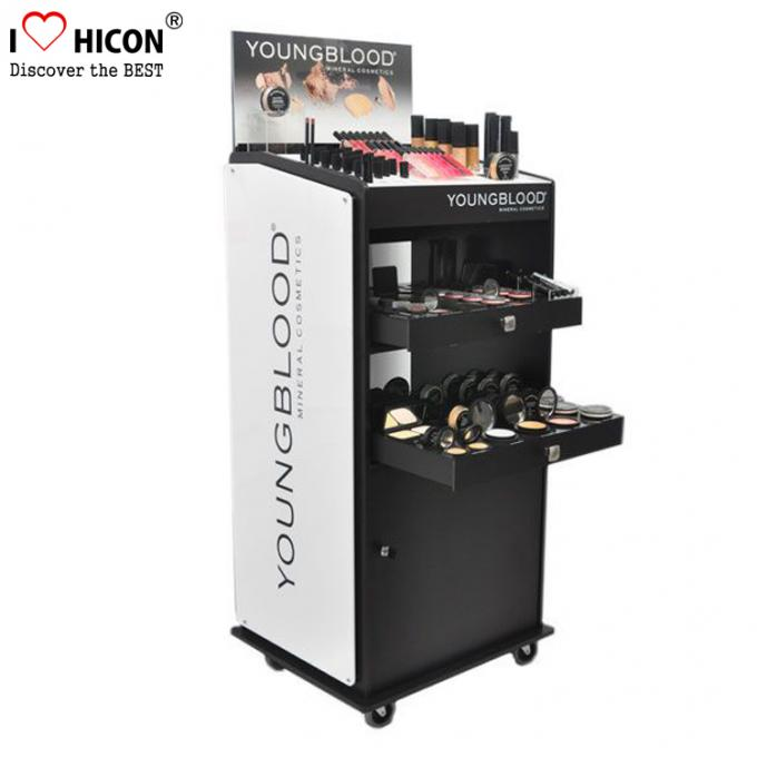 Custom Floor Standing Cosmetic Display Stand Movable For Point Of Sale Retail