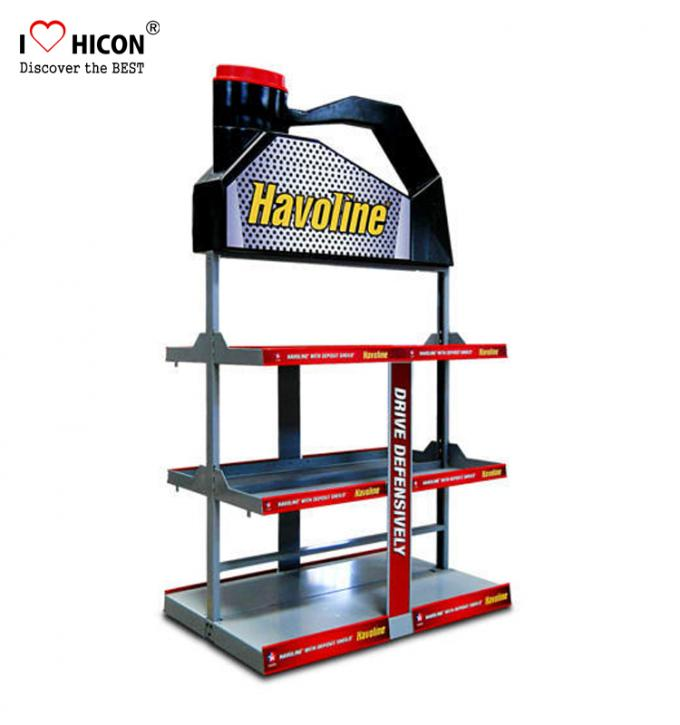 Floorstanding Metal 3 - Layer Car Lubricating Oil Display Rack For Automotive Shops