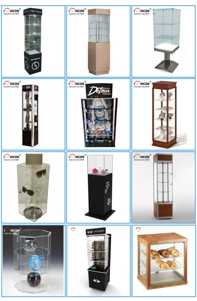 Floor Standing Led Lighted Acrylic Display Case For Electronic Products Advertising
