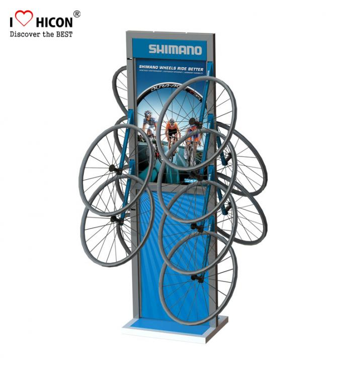 Enrich Client Involvement Metal Display Rack Bicycle Accessories Retail Display Floor Stand