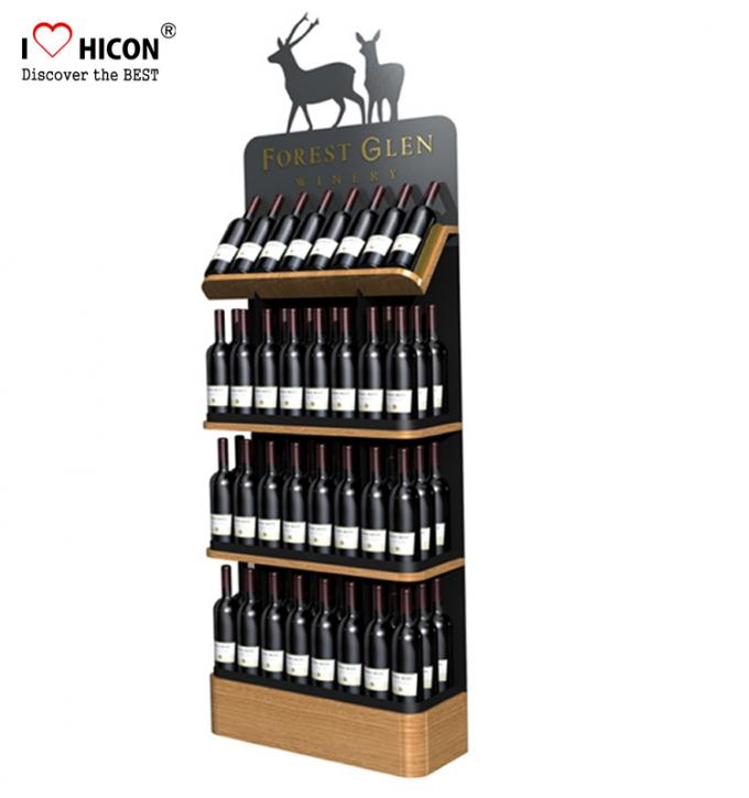 Freestanding Custom Wooden Wine Display Rack For Liquor Store Advertising