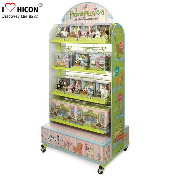 2 - Way Flooring Display Stands Grid Back Wood Base Kids Toy Display Shelving