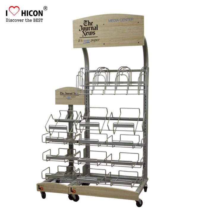Retail Journal Literature Newspaper Display Rack Floor Standing Metal Display Stand