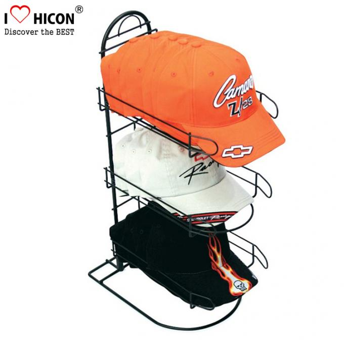 Merchandising Baseball Caps Table Top Display Stands 3 - Layer Metal Material