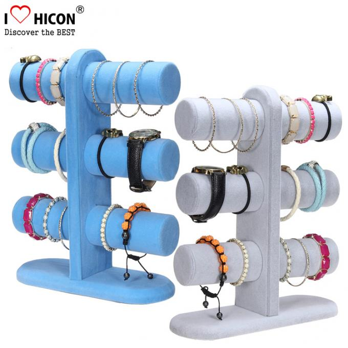 Retail Shop Fashion Accessories Display Stand 3-layer Wood Tabletop Sliver Bracelet Display Stand