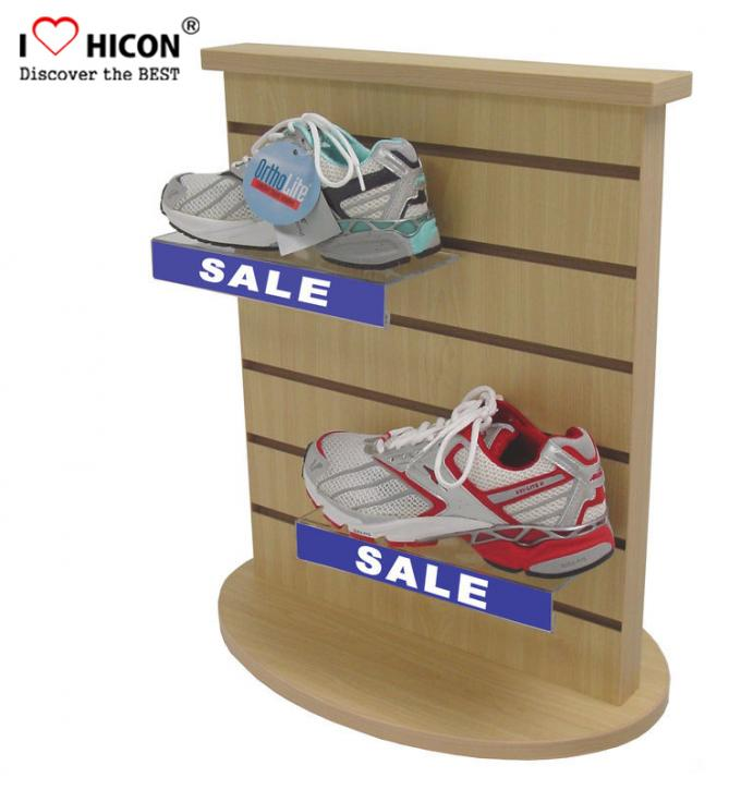 Countertop Black Wood Slatwall Display Stands Rotating For Retail Store / Shops