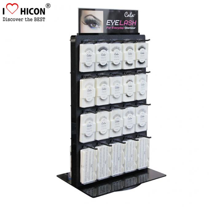 Advertising Table Top Metal Acrylic Eyelash Display Stand Rotating For Beauty Product