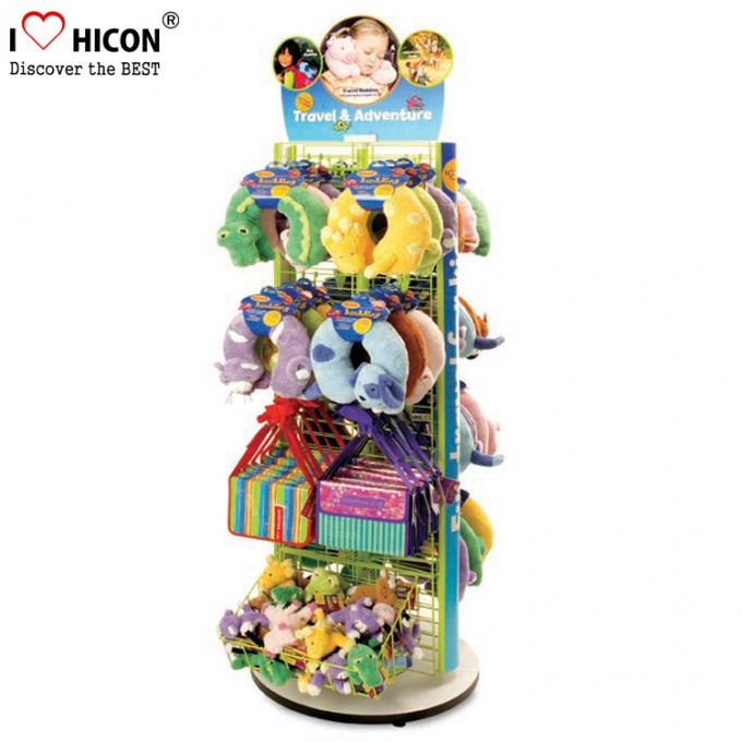 Movable Floor Standing Retail Store Fixtures 3 - Way Wood Toy Display Shelves