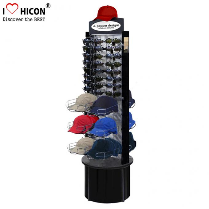 Fashion Store Rotating Outdoor Sports Product Display Stands / Racks Wood Base