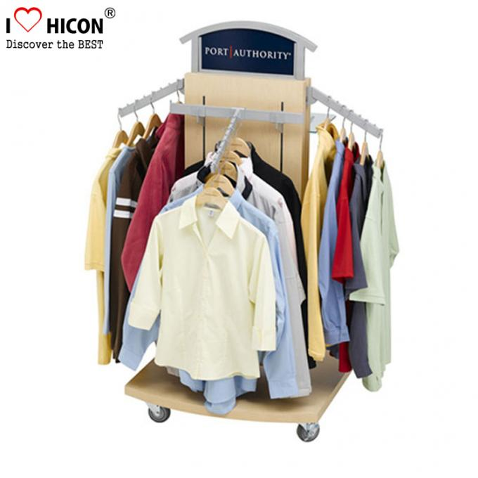 Garment Store Pop Merchandise Displays Floor Metal Wood Clothing Rack For Sale